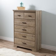 South Shore Versa 5-Drawer Chest, Weathered Oak , 32'' (L) x 17'' (D) x 48'' (H)