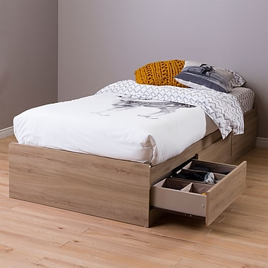 South Shore Fynn Twin Mates Bed (39'') with 3 Drawers, Rustic Oak , 76.5'' (L) x 41'' (D) x 14.5'' (H)