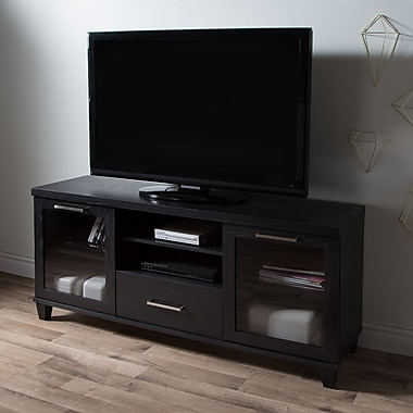 South Shore Adrian TV Stand for TVs up to 60'', Black Oak , 59.5'' (L) x 17'' (D) x 27.75'' (H)