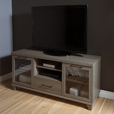 South Shore Adrian TV Stand for TVs up to 60'', Grey Maple , 59.5'' (L) x 17'' (D) x 27.75'' (H)