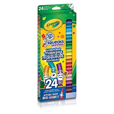Crayola® Washable Pip-Squeaks Skinnies Markers, Fine Line, 24 count Sleeves, 12/Pack