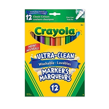 Crayola® Washable Markers, Fine Tip, 12/Pack