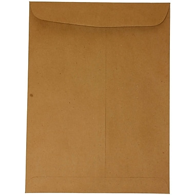 JAM Paper® 9 x 12 Open End Catalog Envelopes, Brown Kraft Paper Bag Recycled, 100/pack (6315446)
