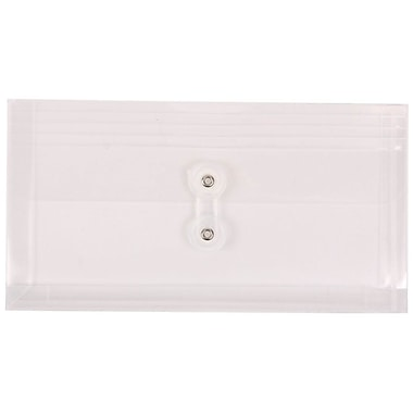 JAM Paper® #10 Plastic Envelopes with Button and String Tie Closure, 5 1/4 x 10, Clear Poly, 12/pack (921B1CL)