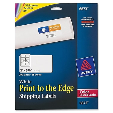 Avery® 6873 Color Printing Matte White Laser Shipping Labels, 2