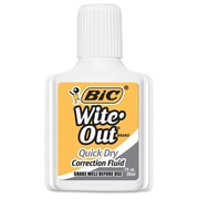BIC® Wite-Out® Brand Quick Dry Correction Fluid, White, 3/Pack