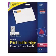 "Avery® 6870 Color Printing Matte White Laser Return Address Labels, 3/4"" X 2-1/4"", 750/Box"