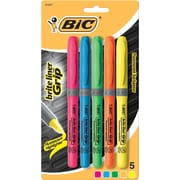 BIC® Brite Liner® Grip Highlighters, Chisel Tip, Assorted Colors, 5/pack (31257)
