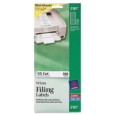 Avery® 2181 Mini-Sheets™ White Inkjet/Laser Filing Labels, 2/3