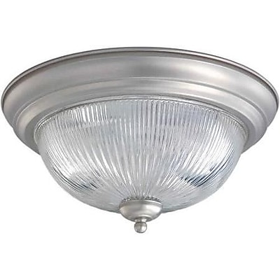 """""Aurora 6 1/4"""""""" x 13 1/4"""""""" 75 W 2 Light Flush Mount W/Clear Ribbed Glass Shade, Brushed Nickel"""""" 467373"