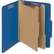 "Smead® Pressboard Classification File Folder with SafeSHIELD® Fasteners, 2 Dividers, 2"" Exp., Letter, Dark Blue, 10/Box (14032)"