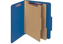 Smead® Pressboard Classification File Folder with SafeSHIELD® Fasteners, 2 Dividers, 2' Exp., Letter, Dark Blue, 10/Box (14032)