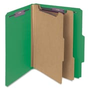 "Smead® Pressboard Classification File Folder with SafeSHIELD® Fasteners, 2 Dividers, 2"" Exp., Letter, Green, 10/Box (14033)"
