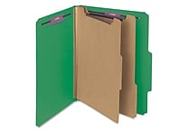 Smead® Pressboard Classification File Folder with SafeSHIELD® Fasteners, 2 Dividers, 2' Exp., Letter, Green, 10/Box (14033)
