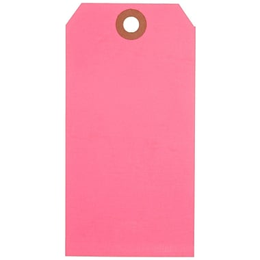 Staples® Fluorescent Pink Shipping Tags, #5, 4-3/4