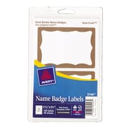"Avery® Print or Write Name Tags, Gold Border, 2 11/32"" x 3 3/8"""