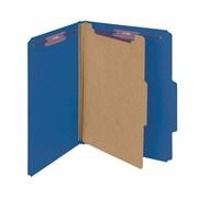 "Smead® Pressboard Classification File Folder with SafeSHIELD® Fasteners, 1 Divider, 2"" Exp., Letter, Dark Blue, 10/Box (13732)"