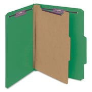 "Smead® Pressboard Classification File Folder with SafeSHIELD® Fasteners, 1 Divider, 2"" Exp., Letter, Green, 10/Box (13733)"