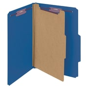 "Smead® Pressboard Classification File Folder with SafeSHIELD® Fasteners, 1 Divider, 2"" Exp., Legal, Dark Blue, 10/Box (18732)"