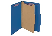 Smead® Pressboard Classification File Folder with SafeSHIELD® Fasteners, 1 Divider, 2' Exp., Legal, Dark Blue, 10/Box (18732)