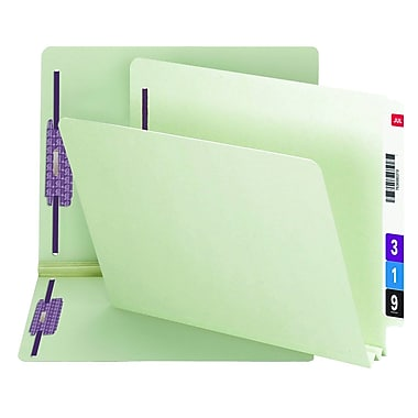 Smead® End Tab Pressboard Fastener File Folder with SafeSHIELD® Fastener , Letter, Gray/Green, 25/Box (34715)