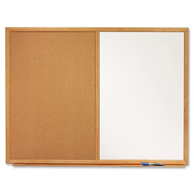 Quartet, 4'W x 3'H, Melamine Dry-Erase and Cork Board Combination with Oak Finish Frame (S554)