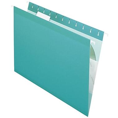 Pendaflex® Reinforced Hanging File Folders, 5 Tab Positions, Letter Size, Aqua, 25/Box (4152 1/5 AQU)