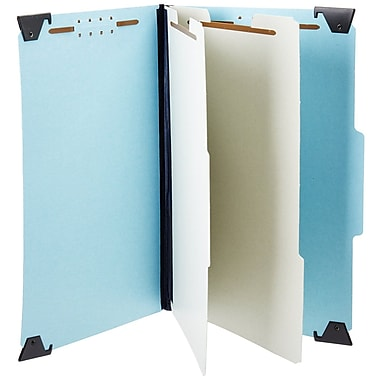 Pendaflex® Hanging Classification Folders, Top Tab, 2 Dividers, Letter Size, Light Blue, 10/Box (59252)