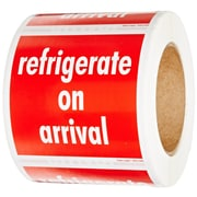 "Tape Logic® Labels, ""Refrigerate On Arrival"", 4"" x 4"", Red/White, 500/Roll"