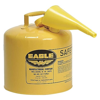 EAGLE Type I Flame Retardant Galvanized Steel Yellow Safety Can, With Funnel, 5 Gallon