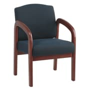 Office Star Wood Guest Chair, Cherry Finish Wood with Midnight Blue Fabric (WD387-317)