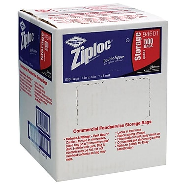 Ziploc® Storage Bags, 1 Quart, Clear, 1.75 Mil, 500/Box