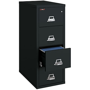 FireKing 4 Drawer Fire Resistant Vertical File, Black,Letter, 17.06''W (41831CBLD)