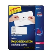 "Avery® 55163 Repositionable, White Laser Shipping Labels 2"" x 4"", 1,000/Box"