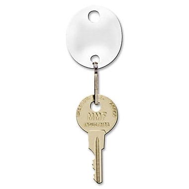 MMF Industries™ Snap-Hook Oval Key Tags, White, 1 1/4