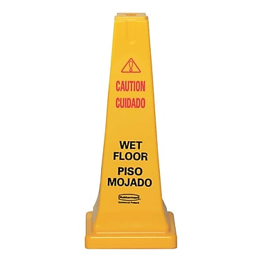 Rubbermaid® Four-Sided Caution, Wet Floor Safety Cone, Yellow