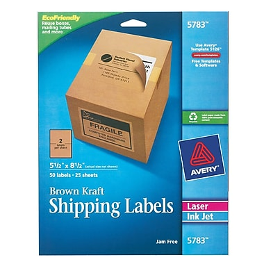 Avery® 5783 Brown Kraft Inkjet/Laser Shipping Labels, 5-1/2