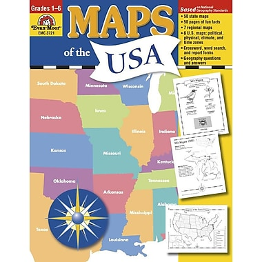Evan-Moor® Maps of The USA Resource Book, Grades 1st - 6th