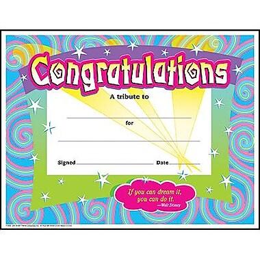 Trend Enterprises® Spirals Congratulations Certificate,8 1/2