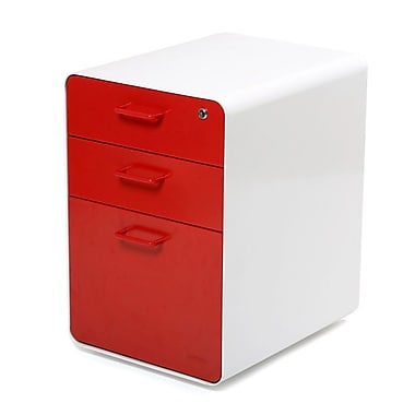 Poppin, Stow File Cabinet, 3-Drawer, White + Red (100427)