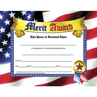Hayes® Blue Border Merit Award Certificate, 81/2