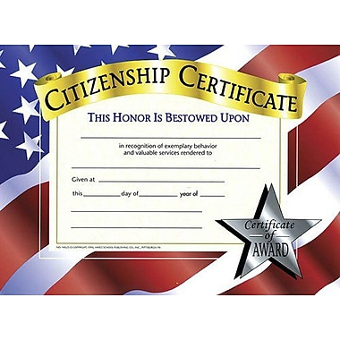 Hayes® White Border Citizenship Certificate, 8 1/2