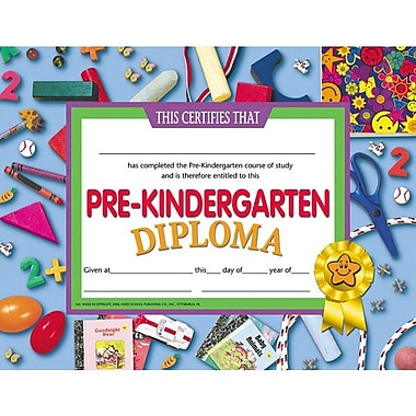 Hayes® Assorted Border pre-kindergarten Diploma Certificate, 8 1/2