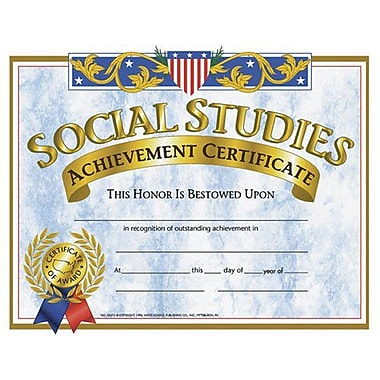 Hayes® Yellow Border Social Studies Achievement Certificate, 8 1/2