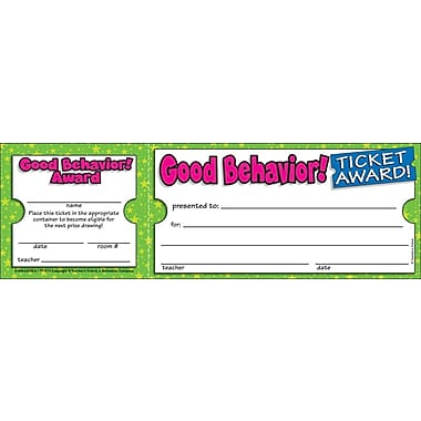 Teacher's Friend® Ticket Awards, Good Behavior!