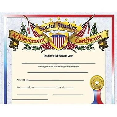 Hayes® Assorted Border Social Studies Achievement Certificate, 8 1/2