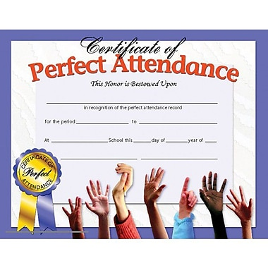 Hayes® Purple Border Certificate of Perfect Attendance, 8 1/2