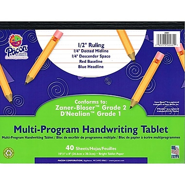 Pacon® Zaner-Bloser™ D'Nealian™ Multi-Program Handwriting Tablet Paper, Grades 1st-2nd, 10 1/2