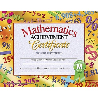 Hayes® Math Achievement Certificate, 8 1/2