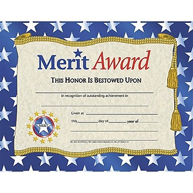 Hayes® Gold Border Merit Award Certificate, 81/2